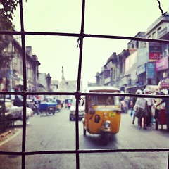 charminar // old city, hyderabad (the girl that spun) Tags: india square squareformat hyderabad rickshaw oldcity afterglow charminar iphoneography instagram