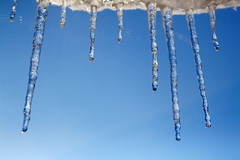 Day 361 - Icicles (Ben936) Tags: cold ice water weather frozen sunny bluesky sparkle drip refraction icicle droplet