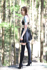 Precious and Precipice (Biscuits_yum) Tags: kawaii pleatedskirt pvc black woods cute innocent naturallightandstrobe trees fashion girl model ink tattoos skinny size6 longlegs littlegirllost