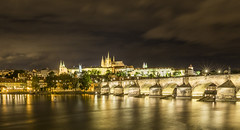 20160717_F0001: Prague castle and cathedral over the Charles bridge (wfxue) Tags: street old city longexposure windows light sky house building castle history tourism water architecture night clouds river town czech prague cathedral cloudy praskhrad tourists structure historical charlesbridge oldtown vltava stvituscathedral praguecastle karlvmost katedrlasvvta