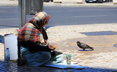 The Pigeon and the Panhandler ('Dazza' Quarin...back from the Dead) Tags: pigeon panhandle panhandler lisbon portugal europe