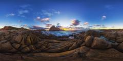 Sugarloaf Rock Sunset 360 (Astronomy*Domine) Tags: yallingup westernaustralia equirectangular panorama pano autopano 360 sunset water sugarloaf rock canon 6d samyang 14mm clouds nik color efex