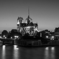 Night in black and white (Le petit oiseau va...) Tags: paris cathedral notredame blackandwhite bw blackwhite building architecture france night lights longexposure olympus omd city