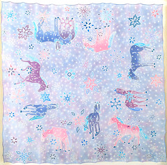hand painted silk scarf with horses for my mum (jani.na) Tags: blue purple pink horses silk painting hand pained original art scarf winter snow flowers formymum birthday present jani nanavati janina