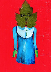 Polly Leaf Person (Fauna Finds Flora) Tags: red blue lady leaf person fall autumn story narrative character strange whimsical cute seasonal mixedmedia acrylic paint art nature illustration faunafindsflora