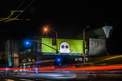 boo (pbo31) Tags: sanfrancisco california night nikon d810 september 2016 summer boury pbo31 dark black color lightstream motion traffic roadway city missionstreet billboard boo ghost yellow sign