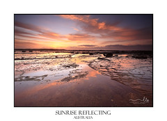 Sunrise skies reflecting on the exposed rocks in low tide (sugarbellaleah) Tags: sunrise sky reflections mirrored reef longreef australia coast coastal pretty beautiful morning nature environment northernbeaches rock geology weathered clouds sun landscape scenic travel picturesque vivid colour