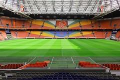 Arena Ajax Amsterdam (ploh1) Tags: fusballstadion ground ajaxamsterdam rnge sitze architektur niederlande schattensonnenlicht fusballverein fusballclub wappen rasen fusballfeld tribne leer niemand menschenleer bunt farbenfroh