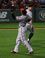 Davis gloves a popup (ConfessionalPoet) Tags: redsox baseball chrisdavis firstbaseman firstbase 1b vanceworley reliefpitcher rhp