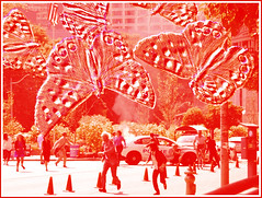 NEWS ALERT - Travellers beware! (Robin Penrose) Tags: 201408 201507 explosions movieset pixels toronto treatthis kreative red butterfly ps manipulated art