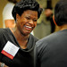 NC A&T University's Michelle Eley laughs while chatting with another conference attendee.