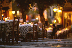 (Nasos Zovoilis) Tags: street light woman night stairs canon table outside restaurant chair focus europe mood close outdoor 85mm atmosphere athens greece eat plaka 12