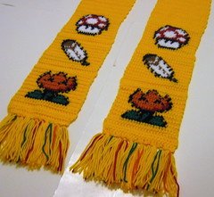 Power-ups scarf in yellow (doctormoo) Tags: mushroom yellow scarf handmade crafts crochet nintendo feather mario gaming gamer videogame nes fireflower