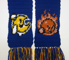 Mr. Bright and Mr. Shine (doctormoo) Tags: sun moon scarf kirby handmade crafts crochet nintendo gaming gamer videogame nes mrshine mrbright