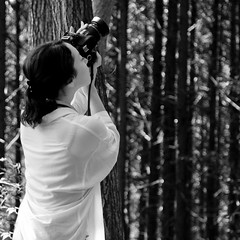 Natural composition (H-Huynh) Tags: autumn portrait people blackandwhite bw woman beautiful japan composition forest canon person photography japanese tokyo photographer natural bokeh hiking candid mount 7d photowalk takao lightroom hachioji canon1755mm