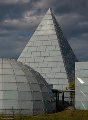 Hemisphere, Pyramid and Cube (katrin glaesmann) Tags: architecture germany denmark pyramid hannover cube dänemark pyramide würfel hemisphere expo2000 halbkugel danishpavilion peterbysted photowalkwithkeid unterwegsmitkeid