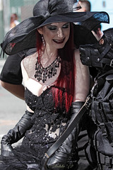 San Francisco Pride 2012 (Daluke) Tags: costumes beauty leather fashion model hats parade redhead gloves lgbt necklaces sanfranciscopride leathergloves mistressliliane lilianehunt tykepuppy