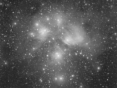 """M45 The Pleiades """"that's not dust on the lens"""" (Terry Hancock www.downunderobservatory.com) Tags: camera sky monochrome night sisters stars photography mono pier back backyard fotografie photos thomas space shed science images astro apo m observatory telescope seven astrophotography m45 astronomy imaging ccd universe taurus cosmos paramount pleiades luminance lodestar teleskop astronomie byo refractor deepsky f55 narrowband astrograph autoguider starlightxpress Astrometrydotnet:status=failed tmb92ss mks4000 gt1100s qhy9m Astrometrydotnet:id=alpha20121080603896"""