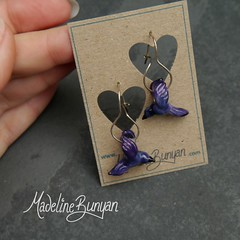 "Purple Bird Earrings • <a style=""font-size:0.8em;"" href=""https://www.flickr.com/photos/37516896@N05/8104747811/"" target=""_blank"">View on Flickr</a>"