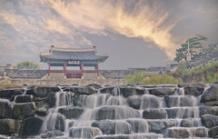 The waterfall by the city wall (waynekorea) Tags: castle water waterfall stream fortress hwaseong suwon thegalaxy hwaseongfortress suwoncastle buksumun hwahongmun  suwoncheon mygearandme mygearandmepremium bestevergoldenartists