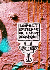 Trollz B Trollin - Respect existence (Melbourne Streets Avant-garde) Tags: streetart sign sticker respect dwarf board politics banner fitzroy protest australia melbourne wallart urbanart angry grumpy resistance existence expect gnom stickeronwall