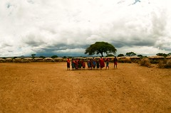 tribe (lucius_kobbit) Tags: africa park travel color film photo nikon village kodak kenya wildlife wide fisheye tribe fm zenitar portra ultrawide masai photostream fm2 fm2n 160iso ambuseli