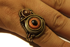 Steampunk Jewelry - Ring - Copper Reptile glass EYE (Catherinette Rings Steampunk) Tags: eye art fashion reptile jewelry ring copper steampunk
