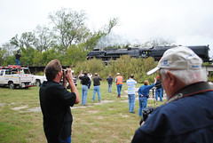 Railfans watch UP 844 cross the Trinity River, 10:21 am, October 26, 2012 (Patrick Feller) Tags: camera railroad bridge up train river texas crossing pacific shepherd union engine photographers railway steam 150 trinity locomotive express goodrich trainspotting 844 up844 railfans pontist