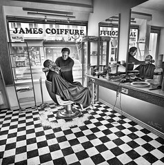 James (Ben Heine) Tags: street brussels blackandwhite black game detail art texture sol work photography lights james mirror chair pattern floor belgium belgique belgie display noiretblanc squares drawing chess dessin oldschool travail barber processing photoediting hairdresser salon canon5d inver