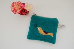 Birdie purse (Julia Laing) Tags: green bird wool october handmade crafts kittens purse accessories applique 2012 materialised