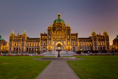 British Columbia Parliament Buildings  (Sharleen Chao) Tags: travel sunset canada building architecture canon downtown cityscape bc nopeople victoria bluehour  afterglow  parliamentbuilding 1635mm  canoneos5dmarkiii canon5dmarkiii