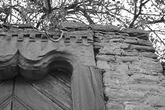 entrance [e x p l o r e d] (HJK Photography) Tags: door bw white black monochrome wall mono interesting branch decay patterns entrance explore explored waigolshausen eselsrckenpforte