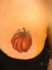 Pumpkin Chest tattoo by Wes Fortier