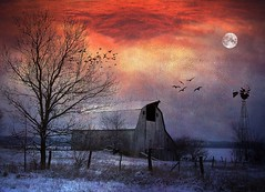 Quiet Time (TicKavich) Tags: moon snow windmill barn brids photomix testures bestevercompetitiongroup bestevergoldenartists creativephotocafe besteverdigitalphotography