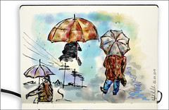 Umbrella (rafaelmucha) Tags: color art moleskine water rain pen ink umbrella notebook sketch sketchbook draw parallel wacom regen aquarell intuos regenschirm skizze