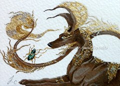 SOLD - ACEO Jackal and the scarab (Fancy-Fairytale-World) Tags: dog brown dogs beautiful atc bug asian gold pretty acrylic jackal god metallic surrealism gorgeous beetle egypt canine legendary fantasy aceo sfa egyptian fancy mystical collectible ornate oriental jewels bigears whimsical ibizanhound realism scarab anubis pharaohhound mythical jackals canines egyptiangod miniart arabianwolf asiandog egyptiandog anubiss egyptianjackal orientaldog fancyfairytaleworld jenniferanneesposito