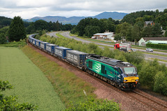 DRS 68002 on 4D47 Inverness to Mossend at Ballinluig (Tug60044) Tags: drs direct rail services class 68 intrepid 68002 ballinluig hml highland main line scotland tesco express intermodal inverness mossend 4d47 network train trains loco locomotive flickr