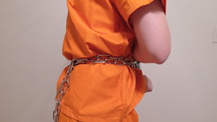 DJI_0189 (boblaly) Tags: orange prison prisoner jail inmate handcuffs cuffed shackled shackles chains chained restraints detention convict arrested belly chain jumpsuit uniform