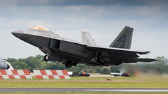 F-22 Raptor Take Off. (spencer.wilmot) Tags: aviation f22 raptor lockheedmartin f22raptor usaf ffd egva riat royalinternationalairtattoo departure airdisplay display takeoff runway airshow airplane aircraft fighter stealth gearup gearretraction fast militaryaviation airbase plane jet 5thgeneration combat combataircraft fairford