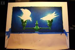 Ravens7032-100 (artistbyday) Tags: painting ravens acrylic lampposts birds glow bioluminescent duality night dark darkblue workinprogress