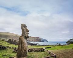 Greeter (Rice Bear) Tags: ahutongariki chile easterisland moai thefifteen pano panorama rapanui southamerica ahu clouds sea statues travel adventure