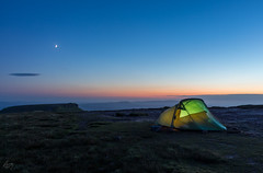 Room with a view (pixelbig) Tags: tent camping campsite wildcamping wild sunset mountain wind windy clear sky clearsky vango banshee banshee300 moon landscape peaceful solitude