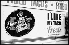 "Definitely ""fresh"" tacos... (Heinz9577961) Tags: leicam2 summilux50mmf14le blackchromeedition ilforddelta100pro selfdevelop rodinal12519c945monochromeblack blackandwhite bw blackdiamond mendota sweetcornfestival"