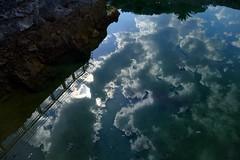 El cielo es azul, las nubes blancas (alfonsocarlospalencia) Tags: cielo azul nubes blancas santander pennsula de la magdalena focas estanque abstracto inversin verde barandilla reflejos profundidad rocas