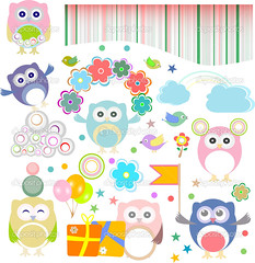Birthday party elements with funny owls. Vector set (myasander65) Tags: birthday drawing candles confetti card balloon streamer background gift illustration kid childish chocolate food cake box child paper present animal design happy ribbon girl bow vector fun cupcake bird cartoon decorative element banner decoration hat cheerful art invitation cute retro owl sweet boy funny flag star isolated clip celebration party