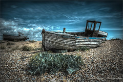 Old Fishing Boat. (John's taken it. PEACE.) Tags: hdr dungeness wreck boat fishing old beach pebbles kent photomatix