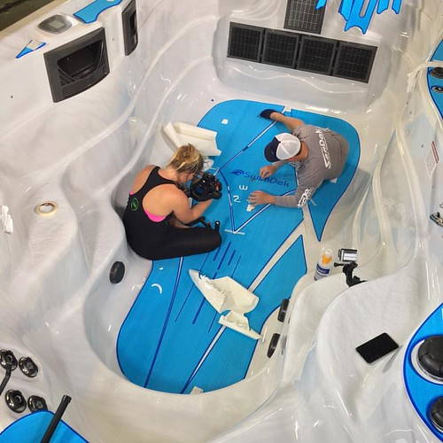 The #SwimDek team filming an installation video of a #CustomSwimDek kit going into a #MasterSpas #MichaelPhelps #SwimSpa at our manufacturing facility in #Florida #nonskid #poolandspa #pools #huttub #spa