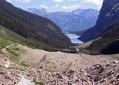Lake Louise From Plain of Six Glaciers (njchow82) Tags: canada 2004 scenic alberta lakelouise teahouse banffnationalpark canadianrockies nancychow plainsofsixglacier victorisglacier 11kmtrail sharingthetrailwithlotsofhikersandhorses