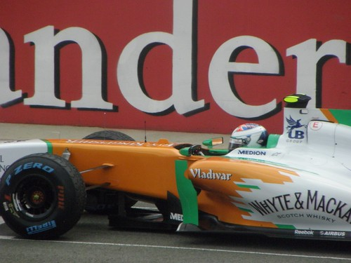 Paul Di Resta in his Force India on the grid before the 2011 British Grand Prix at Silverstone