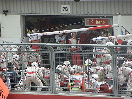 Timo Glock's Toyota pit crew in action at the 2009 British Grand Prix
